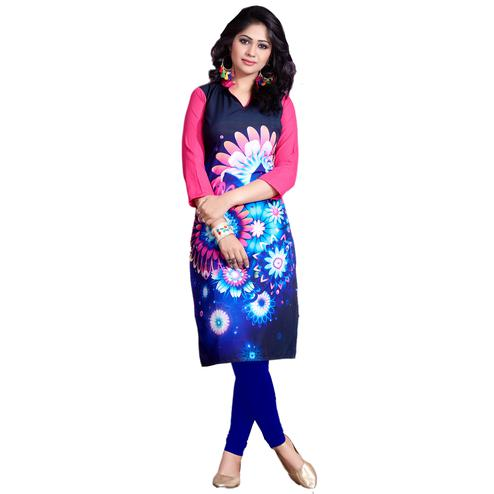 Navy Blue-Pink Colored Casual Wear Digital Printed Poly Rayon Kurti