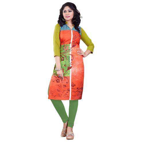 Orange Colored Casual Wear Digital Printed Rayon Kurti
