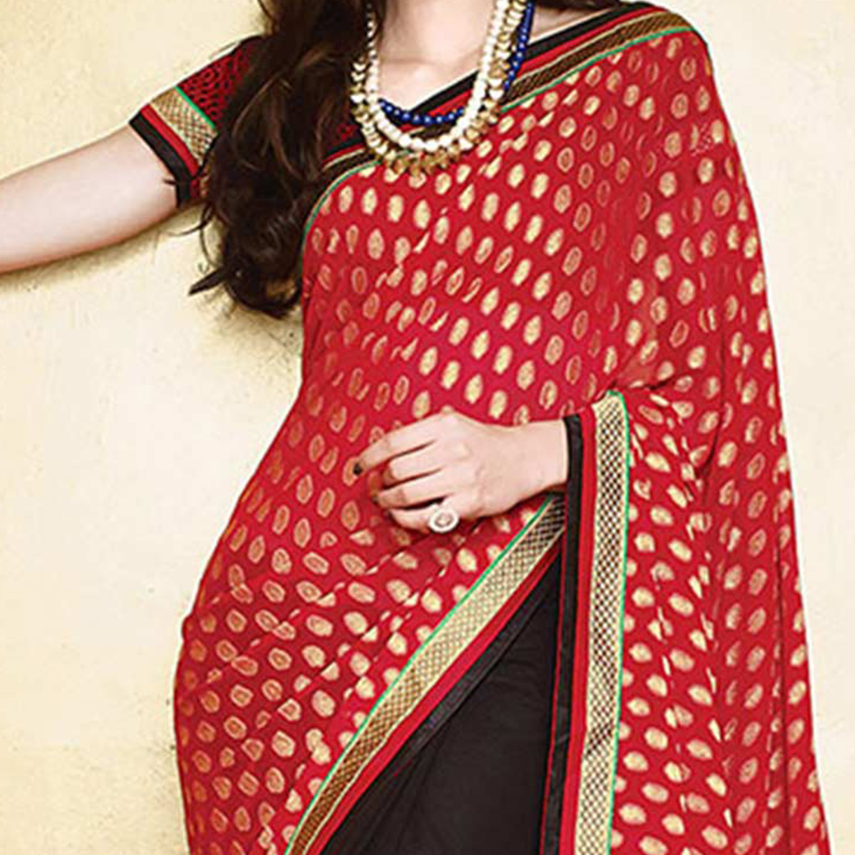 Snazzy Red - Black Colored Party Wear Embroidered Georgette Saree