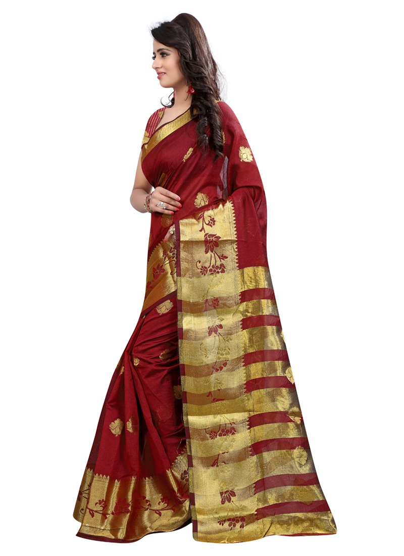 Preferable Maroon Colored Festive Wear Art Silk Saree