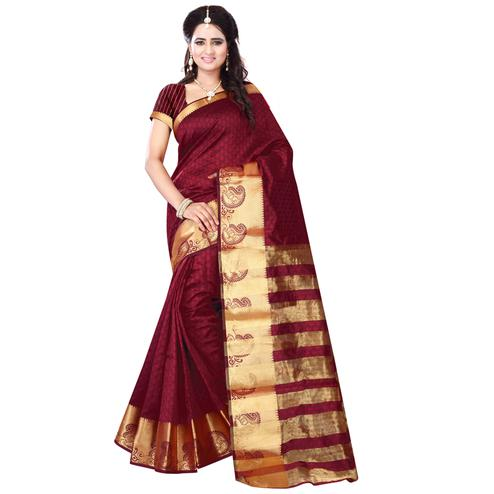 Imposing Maroon Colored Festive Wear Art Silk Saree