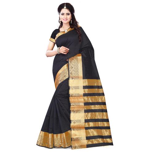 Gleaming Black Colored Festive Wear Art Silk Saree