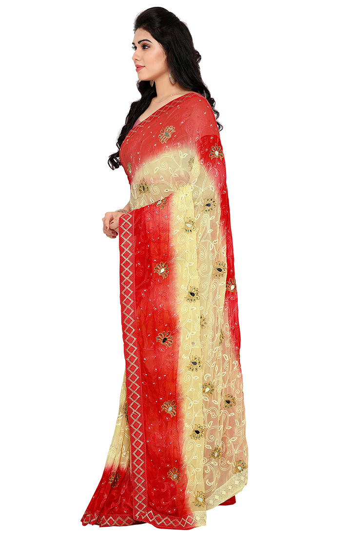 Fantastic Light Yellow-Red Colored Party Wear Embroidered Chiffon Saree