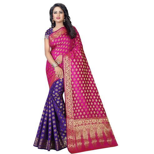 Alluring Pink-Purple Colored Festive Wear Art Silk Saree