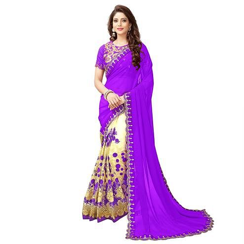 Elegant Cream - Purple Embroidered Half & Half Georgette Saree