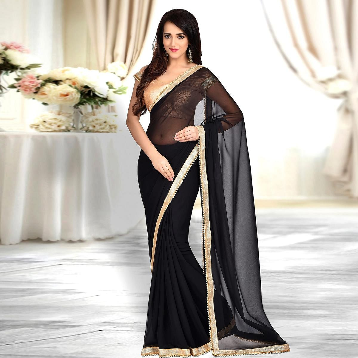 Blissful Black Colored Designer Party Wear Georgette Saree