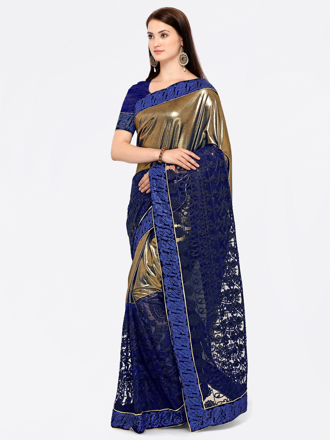 Staring Blue Colored Embroidered Lycra-Net Saree