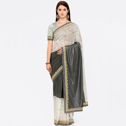Precious White-Grey Colored Embroidered Lycra-Net Saree