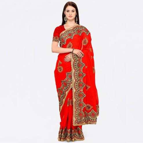 Lovely Red Colored Party Wear Embroidered Chiffon Saree
