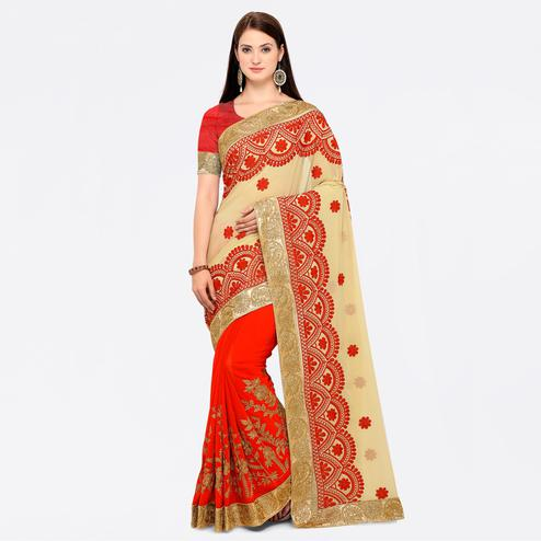 Surpassing Cream-Red Colored Party Wear Embroidered Georgette Saree