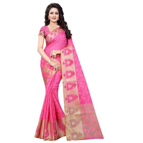 Opulent Pink Colored Festive Wear Cotton Silk Saree
