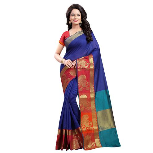 Pretty Navy Blue Colored Festive Wear Cotton Silk Saree