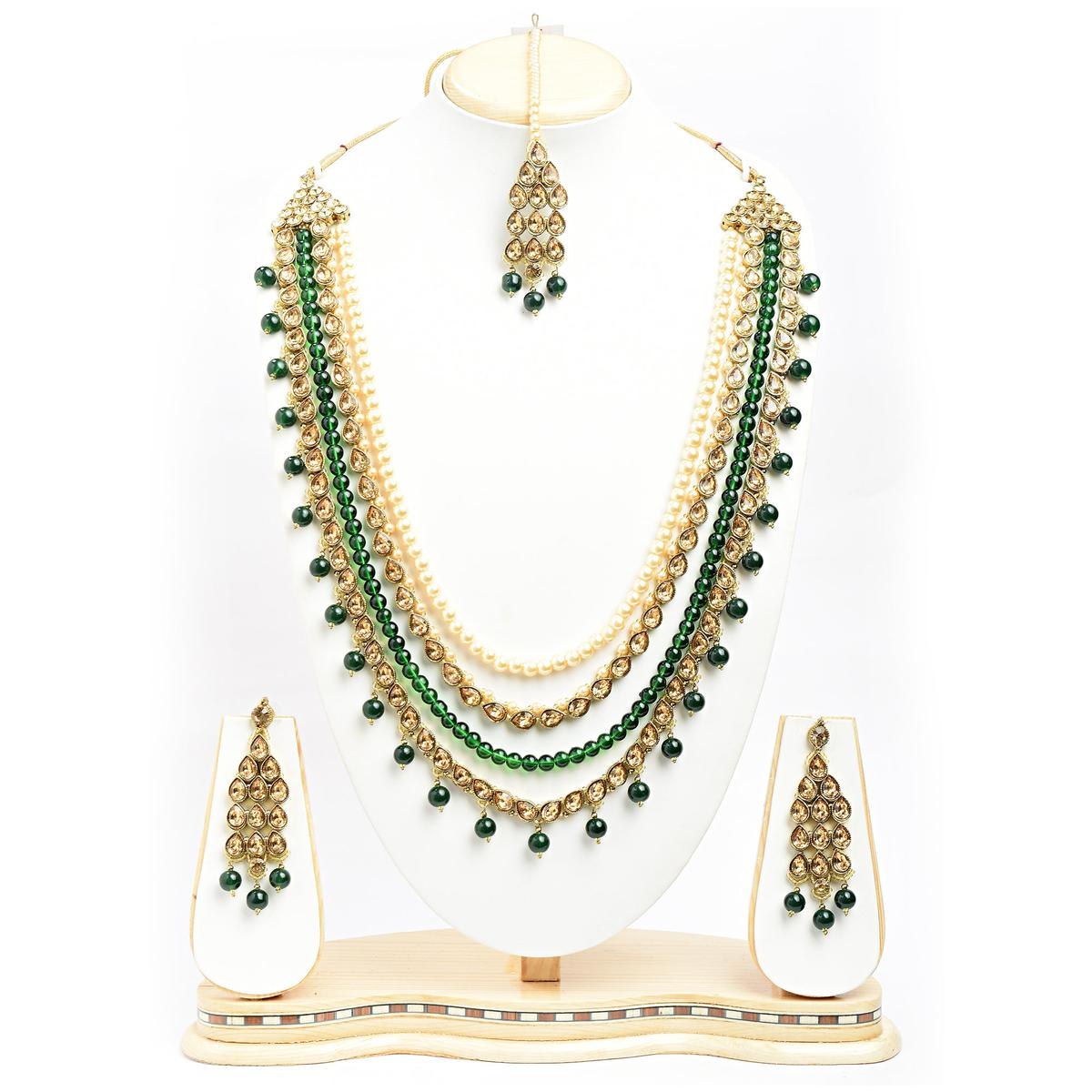 Traditional Design Pearl with LCT Stone Gold Finish Necklace Set with Maang Tikka