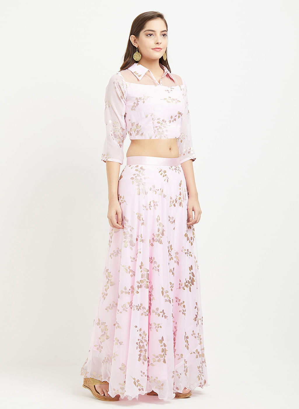 Classy Soft Pink Colored Designer Foil Printed Georgette Lehenga