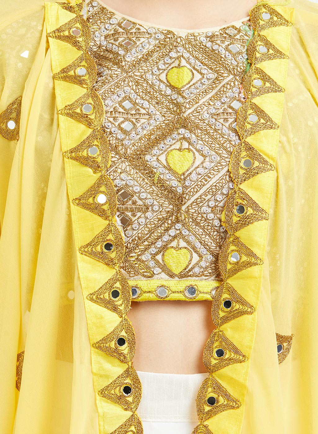 Exotic Yellow-White Colored Designer Party Wear Georgette Lehenga With Koti