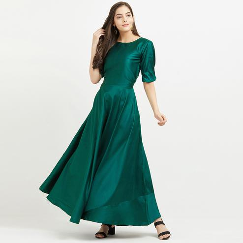 Glorious Teal Colored Party Wear Butter Silk Gown