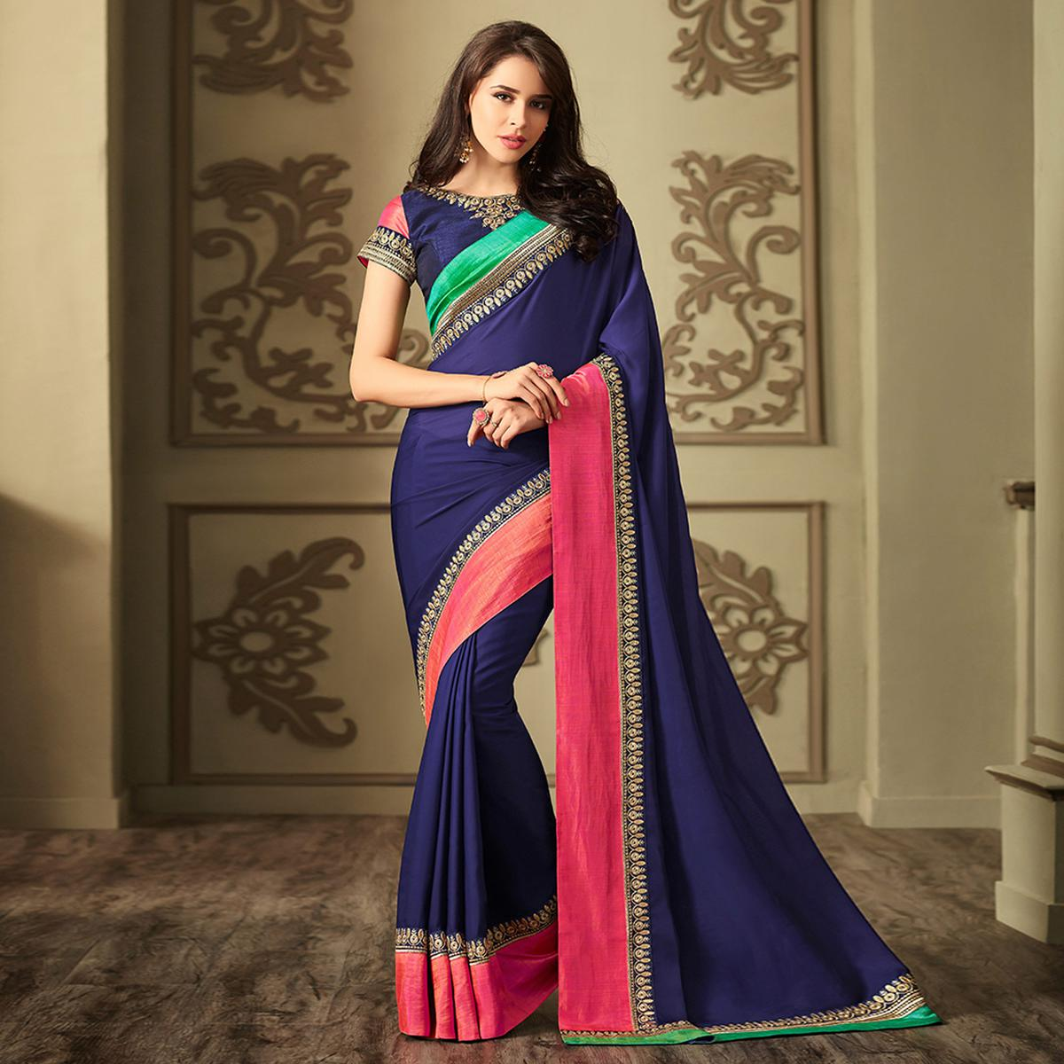 96d183d1c4 Buy Amazing Navy Blue Colored Party Wear Embroidered Rangoli Silk Saree for  women's online India, Best Prices, Reviews - Peachmode