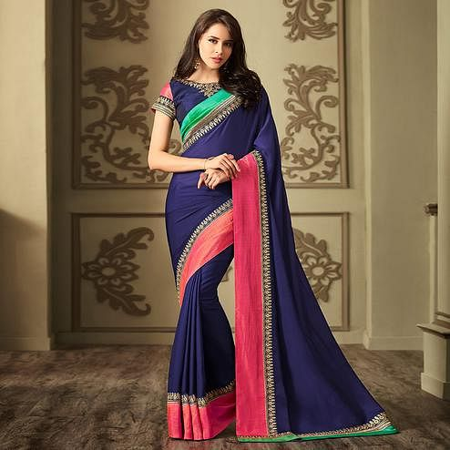 Amazing Navy Blue Colored Party Wear Embroidered Rangoli Silk Saree