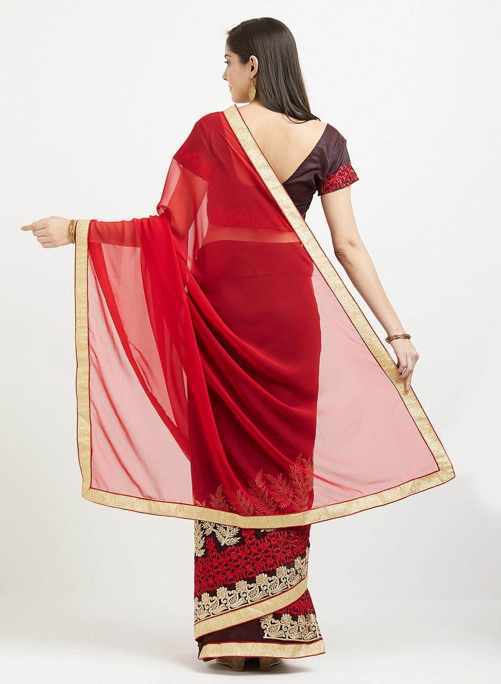 Charming Red-Brown Colored Embroidered Half & Half Georgette Saree