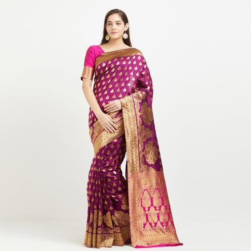 Intricate Magenta Pink Colored Festive Wear Weaving Cotton Silk Saree