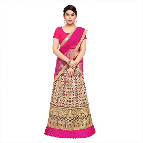 Charming Cream And Pink Jacquard Lehenga Choli