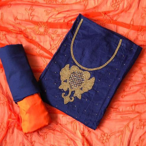 Staring Navy Blue-Orange Colored Designer Chanderi Cotton Dress Material