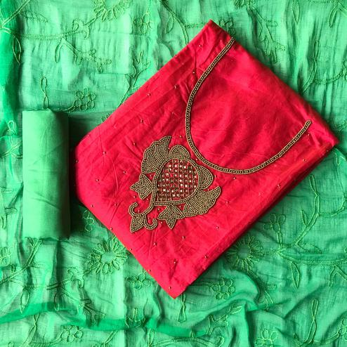 Fantastic Red-Green Colored Designer Chanderi Cotton Dress Material