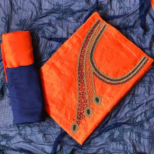 Engrossing Orange-Navy Blue Colored Designer Chanderi Cotton Dress Material