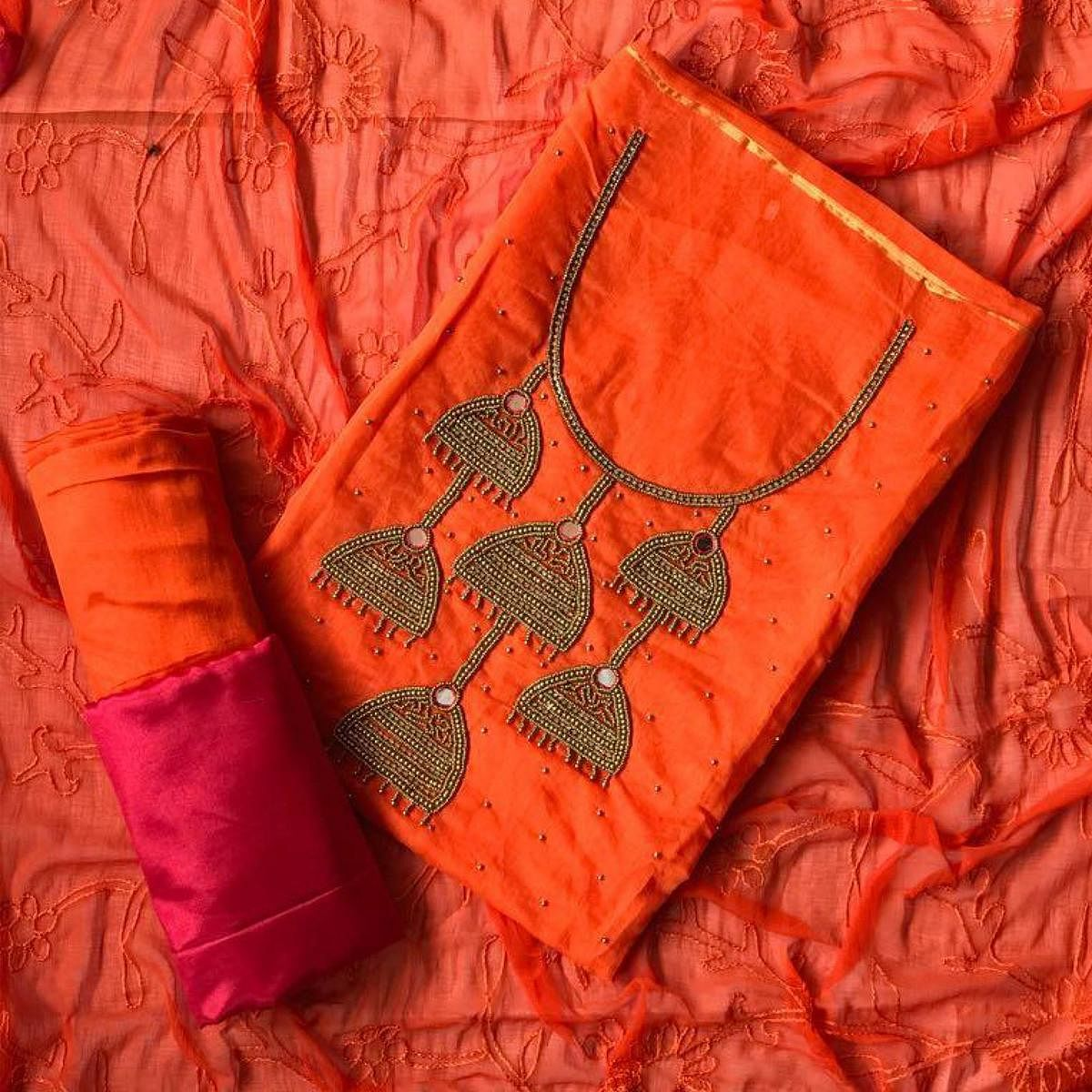 Ideal Orange Colored Designer Chanderi Silk Dress Material