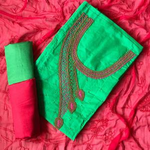 Blissful Green-Deep Pink Colored Designer Chanderi Cotton Dress Material