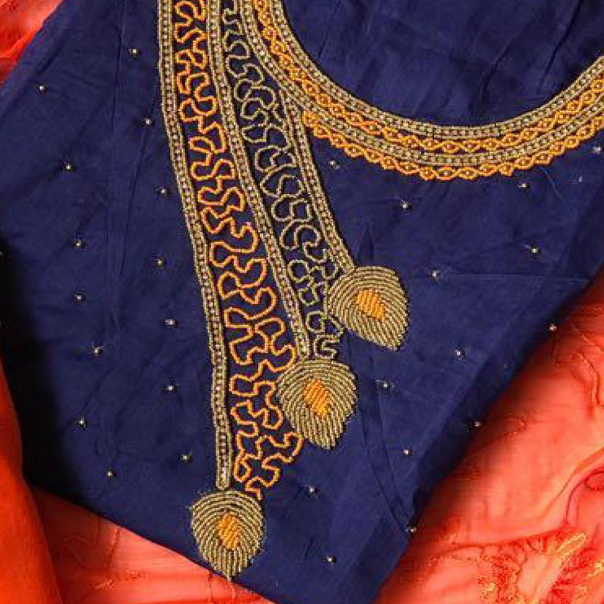 Imposing Navy Blue-Orange Colored Designer Chanderi Silk Dress Material