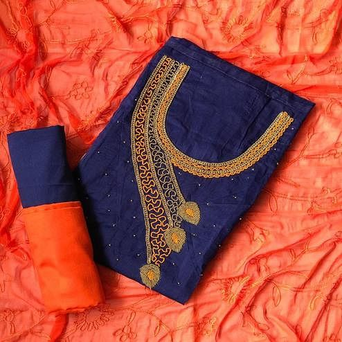 Imposing Navy Blue-Orange Colored Designer Chanderi Cotton Dress Material