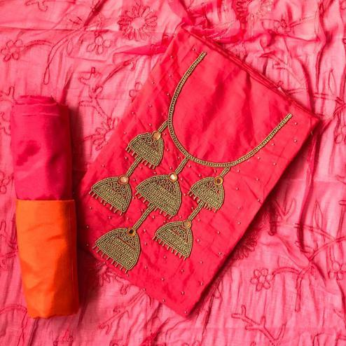 Starring Pink Colored Designer Chanderi Cotton Dress Material