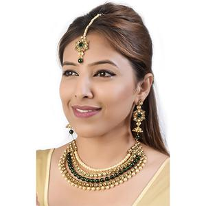 Classic Design LCT Stone & Pearl Gold Finish Necklace Set with Maang Tikka
