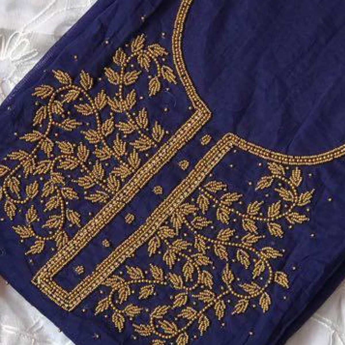 Excellent Navy Blue-White Colored Designer Chanderi Silk Dress Material
