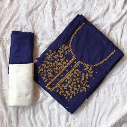 Excellent Navy Blue-White Colored Designer Chanderi Cotton Dress Material