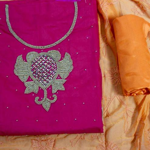 Arresting Magenta-Mustard Yellow Colored Designer Chanderi Cotton Dress Material