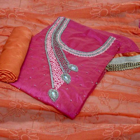 Impressive Pink-Orange Colored Designer Chanderi Silk Dress Material