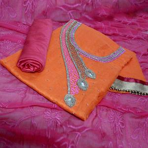 Breathtaking Orange-Pink Colored Designer Chanderi Silk Dress Material