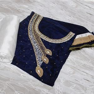Flattering Navy Blue-White Colored Designer Chanderi Cotton Dress Material