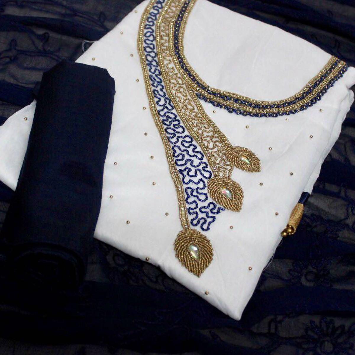 Dazzling White-Navy Blue Colored Designer Chanderi Cotton Dress Material