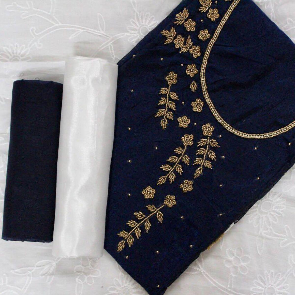 Opulent Navy Blue-White Colored Designer Chanderi Silk Dress Material