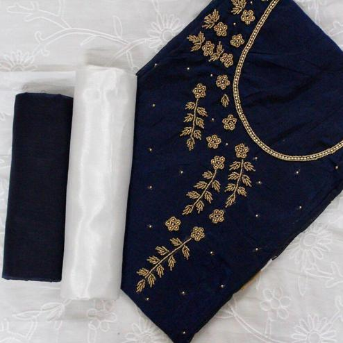 Opulent Navy Blue-White Colored Designer Chanderi Cotton Dress Material