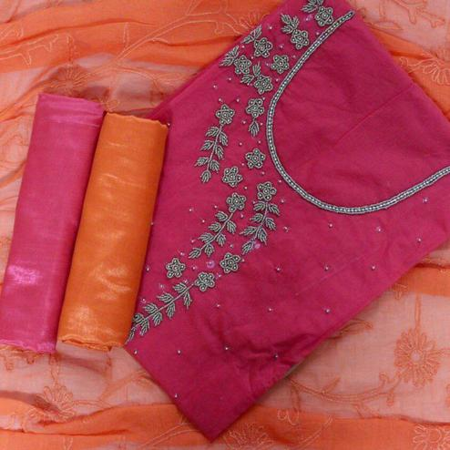 Sensational Pink-Orange Colored Designer Chanderi Cotton Dress Material