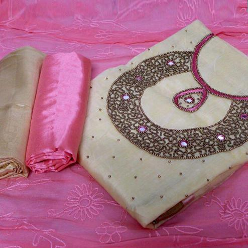 Pleasant Beige-Pink Colored Designer Chanderi Cotton Dress Material