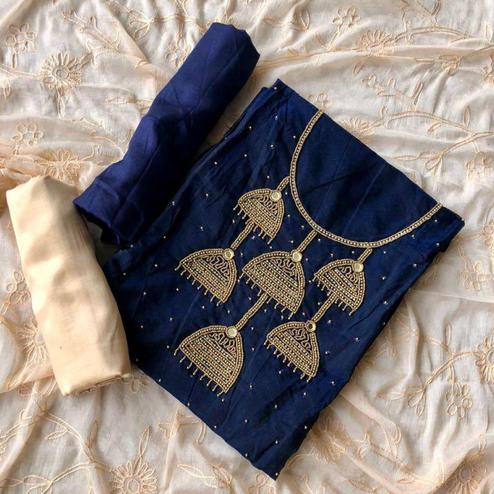 Sophisticated Navy Blue-Cream Colored Designer Chanderi Silk Dress Material