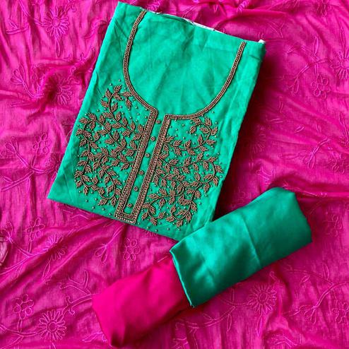 Adorable Rama Green-Magenta Pink Colored Designer Chanderi Cotton Dress Material