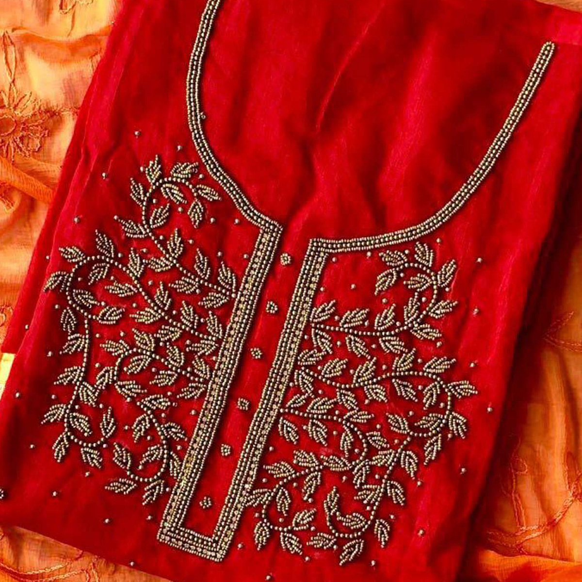 Attractive Red-Orange Colored Designer Chanderi Silk Dress Material