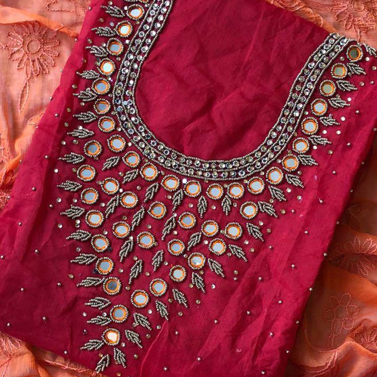 Marvellous Magenta-Peach Colored Designer Chanderi Silk Dress Material