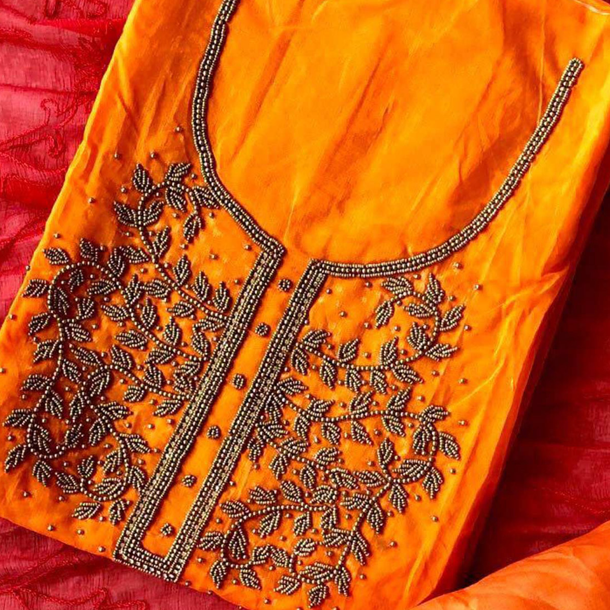 Beautiful Orange-Red Colored Designer Chanderi Silk Dress Material